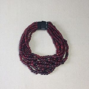 Vintage multi strand Red Collar Necklace